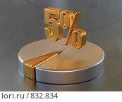 Купить «Символ 5% и круговая диаграмма», иллюстрация № 832834 (c) Воробьева Анна / Фотобанк Лори