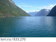 Купить «Норвежский фьорд - классический вид (Geirangerfjord)», фото № 833270, снято 25 марта 2019 г. (c) Светлана Привезенцева / Фотобанк Лори
