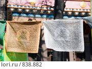 Купить «Флажки со священными буддистскими текстами и рисунками. Дацан. Санкт-Петербург», эксклюзивное фото № 838882, снято 26 апреля 2009 г. (c) Александр Щепин / Фотобанк Лори