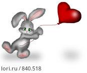 Купить «Зайчик держит улетающее сердечко», иллюстрация № 840518 (c) Лена Кичигина / Фотобанк Лори