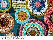 Купить «Декоративное панно из вязаных ковриков», фото № 843106, снято 1 мая 2009 г. (c) Наталия Печёрских / Фотобанк Лори