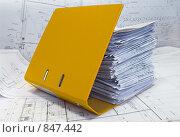 Купить «Незакрытая желтая папка со стопкой строительных чертежей», фото № 847442, снято 8 февраля 2009 г. (c) Кекяляйнен Андрей / Фотобанк Лори
