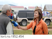 Купить «Девушка журналист за работой», фото № 852454, снято 3 августа 2008 г. (c) Александр Подшивалов / Фотобанк Лори