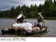 Купить «Водные туристы на реке Вишера. Пермский край. Район поселка Золотанка», фото № 879742, снято 5 августа 2008 г. (c) Максим Антипин / Фотобанк Лори