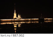 Петропавловская крепость ночью (2008 год). Стоковое фото, фотограф Лоза Алексей Анатольевич / Фотобанк Лори