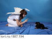 Купить «Девушка-ангел с собачкой на голубом фоне», фото № 887194, снято 3 мая 2009 г. (c) Евгений Батраков / Фотобанк Лори