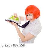 Купить «Девушка гладит утюгом галстук и улыбается», фото № 887558, снято 16 мая 2009 г. (c) Сергей Новиков / Фотобанк Лори