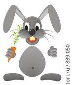 Купить «Иллюстрация, заяц с морковкой», иллюстрация № 889050 (c) Александр Черезов / Фотобанк Лори