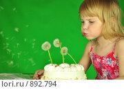 Торт с одуванчиками вместо свеч. Стоковое фото, фотограф Григорий Дашкин / Фотобанк Лори