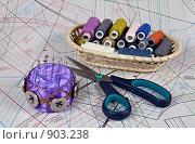 Купить «Игольница, ножницы и нитки на выкройке», фото № 903238, снято 3 июня 2009 г. (c) Евгений Прокофьев / Фотобанк Лори