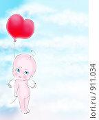 Купить «Открытка с ангелом», иллюстрация № 911034 (c) Анна Боровикова / Фотобанк Лори
