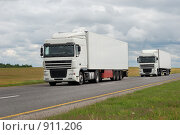 Купить «Два белых грузовика на дороге», фото № 911206, снято 6 июня 2009 г. (c) Дмитрий Калиновский / Фотобанк Лори