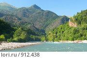 Купить «Большая Лаба и горы», фото № 912438, снято 5 августа 2004 г. (c) Тихонов Алексей Владимирович / Фотобанк Лори
