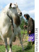 Купить «Коза и бабушка с клюкой», эксклюзивное фото № 913134, снято 9 июня 2009 г. (c) Яна Королёва / Фотобанк Лори