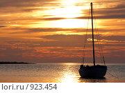 Купить «Закат на море. Яхта на якоре», фото № 923454, снято 12 июня 2009 г. (c) Михаил Митин / Фотобанк Лори