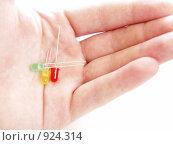 Три светодиода в руке. Стоковое фото, фотограф Виктор Шмыголь / Фотобанк Лори