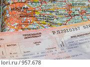 Железнодорожный билет на карте. В Москву! В Москву! (2009 год). Редакционное фото, фотограф Александр Щепин / Фотобанк Лори