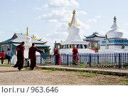 Купить «Буддийские монахи трудятся. Иволгинский дацан. Бурятия», фото № 963646, снято 8 июня 2009 г. (c) Александр Подшивалов / Фотобанк Лори