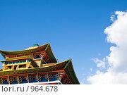 Купить «Фрагмент крыши здания Иволгинского дацана, Бурятия Улан-Удэ(пагода)», фото № 964678, снято 8 июня 2009 г. (c) Александр Подшивалов / Фотобанк Лори