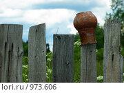 Купить «Крынка на заборе», фото № 973606, снято 7 июля 2009 г. (c) Саломатников Владимир / Фотобанк Лори