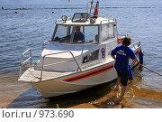 Купить «Патрульный катер МЧС на водохранилище», фото № 973690, снято 3 июля 2009 г. (c) Владимир Сергеев / Фотобанк Лори
