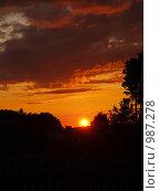 Закат над лесом. Стоковое фото, фотограф Михаил Сметанин / Фотобанк Лори