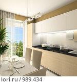 Купить «Интерьер современной кухни. 3d-рендер», иллюстрация № 989434 (c) Майер Георгий Владимирович / Фотобанк Лори