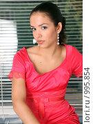 Купить «Очаровательная модель в красном», фото № 995854, снято 24 июля 2009 г. (c) Павел Гундич / Фотобанк Лори