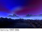 Купить «Фантастический 3d пейзаж. Ночь. туман», иллюстрация № 997986 (c) ElenArt / Фотобанк Лори