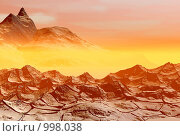 Купить «Закат солнца в пустыне. Фантастический 3D-пейзаж», иллюстрация № 998038 (c) ElenArt / Фотобанк Лори
