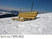 Купить «Лавочка на вершине горы. Ортизей», фото № 999662, снято 28 февраля 2008 г. (c) Александр Трушкин / Фотобанк Лори