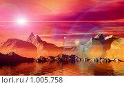 Купить «Утро. Панорама. фантастический 3d пейзаж», иллюстрация № 1005758 (c) ElenArt / Фотобанк Лори