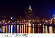 Высотное здание в Москве на Котельнической набережной ночью (2009 год). Стоковое фото, фотограф Тагильцева Наталия / Фотобанк Лори
