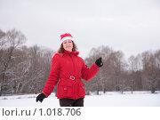 Купить «Девушка в новогоднем колпаке на фоне леса зимой», фото № 1018706, снято 28 декабря 2008 г. (c) Losevsky Pavel / Фотобанк Лори