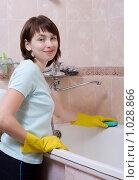 Купить «Девушка чистит ванну», эксклюзивное фото № 1028866, снято 11 августа 2009 г. (c) Juliya Shumskaya / Blue Bear Studio / Фотобанк Лори