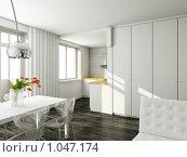 Купить «Интерьер гостиной в современном стиле.Рендеринг», иллюстрация № 1047174 (c) Майер Георгий Владимирович / Фотобанк Лори