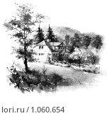 Купить «Гетевский домик в саду в Йене. Гравюра.», иллюстрация № 1060654 (c) Кондорский Дмитрий / Фотобанк Лори
