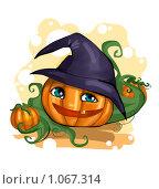 Тыква в шляпе на хэллоуин. Стоковая иллюстрация, иллюстратор Ветрова Татьяна / Фотобанк Лори