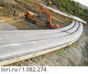 Купить «Реконструкция дамбы на реке Тобол», фото № 1082274, снято 5 сентября 2009 г. (c) Andrey M / Фотобанк Лори