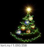 Купить «Абстрактная новогодняя елочка в виде спирали на черном фоне», иллюстрация № 1093558 (c) Александр Куличенко / Фотобанк Лори