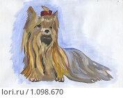 Купить «Собачка с бантиком. рисунок», иллюстрация № 1098670 (c) Ольга Лерх Olga Lerkh / Фотобанк Лори