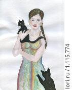 Купить «Девушка с кошками. рисунок», иллюстрация № 1115774 (c) Ольга Лерх Olga Lerkh / Фотобанк Лори
