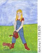 Купить «Садовница. Рисунок», иллюстрация № 1115870 (c) Ольга Лерх Olga Lerkh / Фотобанк Лори