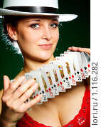 Купить «Девушка и игральные карты», фото № 1116282, снято 2 сентября 2009 г. (c) Андрей Армягов / Фотобанк Лори