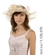 Девушка  в шляпке. Стоковое фото, фотограф Леонид Козлов / Фотобанк Лори