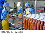 Купить «Работник колбасного цеха. Подготовка колбасы к термообработке.», фото № 1152318, снято 17 сентября 2009 г. (c) Александр Подшивалов / Фотобанк Лори