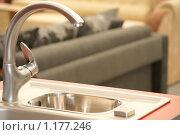 Купить «Серебристый смеситель и раковина», фото № 1177246, снято 17 октября 2009 г. (c) Сергей Емельянов / Фотобанк Лори