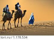 Караван верблюдов в пустыне Сахара, Марокко (2009 год). Стоковое фото, фотограф Николай Коржов / Фотобанк Лори