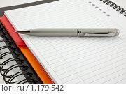 Купить «Шариковая ручка и два бумажных блокнота: оранжевый и черный», фото № 1179542, снято 28 октября 2009 г. (c) Анастасия Золотницкая / Фотобанк Лори