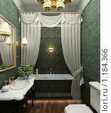 Купить «3D-интерьер стильной ванной комнаты в классическом стиле», иллюстрация № 1184366 (c) Майер Георгий Владимирович / Фотобанк Лори